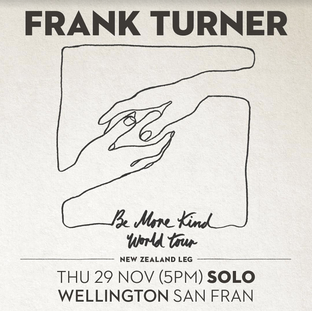 New SOLO SHOW ADDED - Frank Turner Wellington